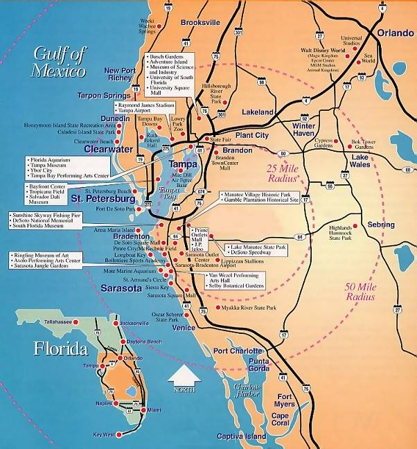 Secret Places, Location Map of Florida\'s Gulf Coast