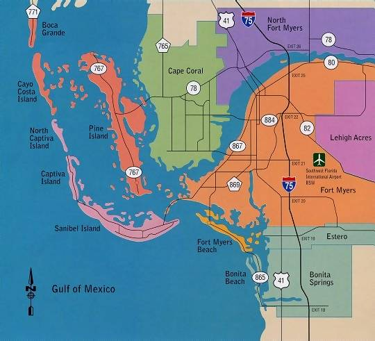 Location Map Cape Coral and Fort Myers Secret Places Cape Coral